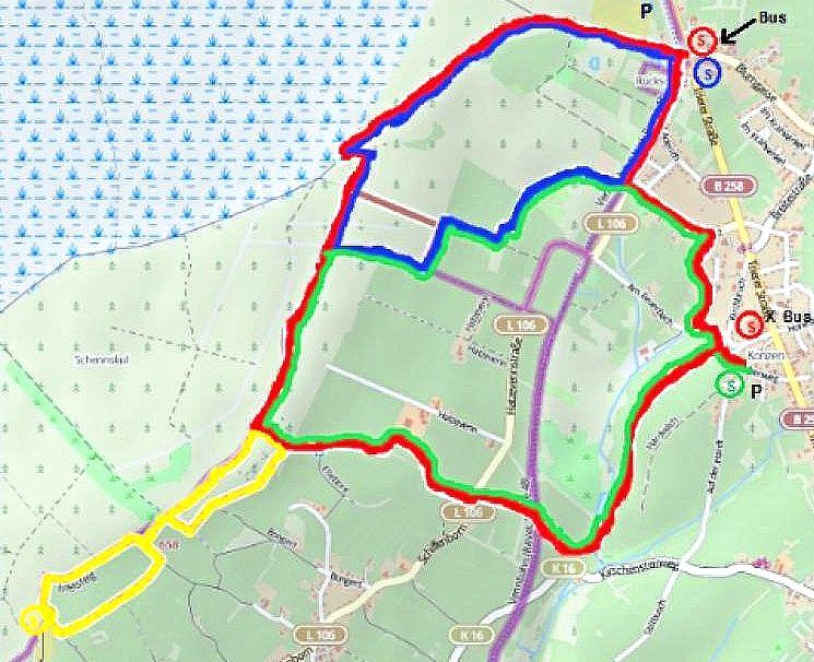 Gesamte Wegstrecken 1-4 farblich markiert